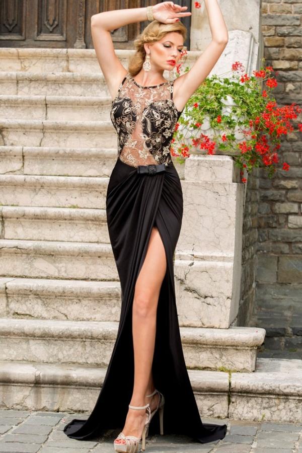 Vestiti Eleganti Con Spacco.Abito Maxi Diva Nero Vestito Elegante Con Spacco In Pizzo